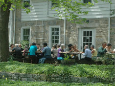 visitors dining outside